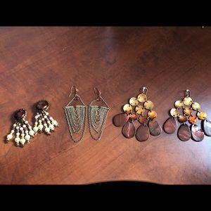 SALE ITEM Womens Brown Earring Set. (3)